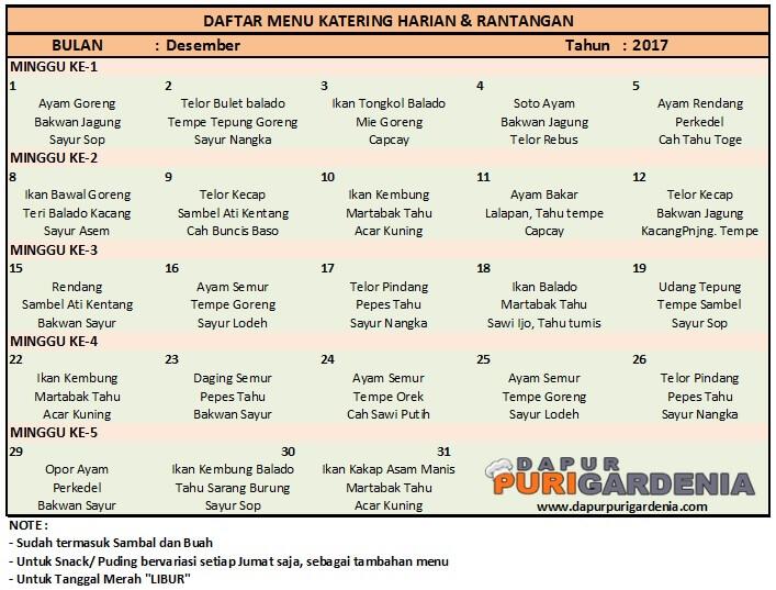 Daftar menu catering harian